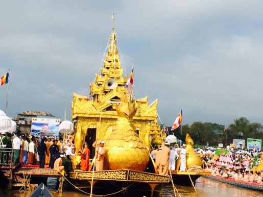 Arrival of the Royal Karaweik Barge Paung Daw oo Pagoda Festival Inle Lake