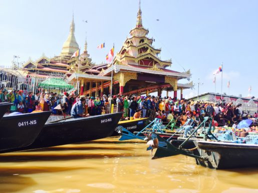 Crowds at Paung Daw Oo Pagoda Festival Inle Lake