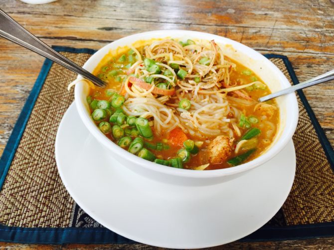 Cheap delicious Khmer noodle curry Siem Reap Cambodia