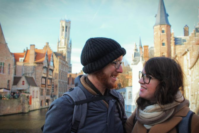 Couple in Bruges Belgium most romantic destination