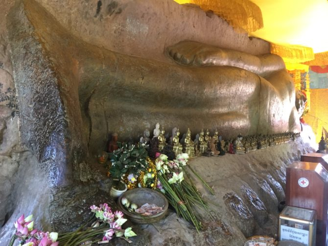Kulen Mountain, 8 foot Gold Reclining Buddha, Phnom Kulen National Park