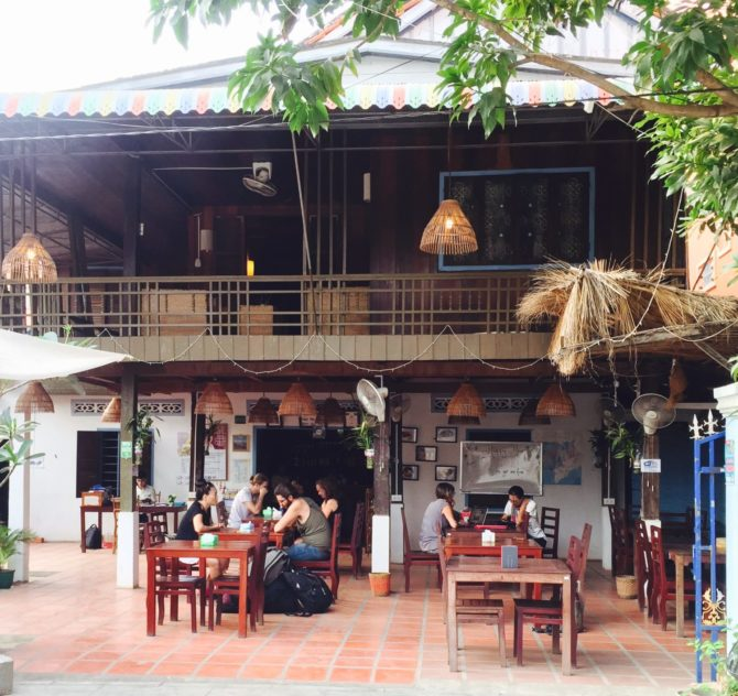 Outside of Le Tonle Restaurant and Guesthouse Tourism Training Centre in Kratie, Cambodia