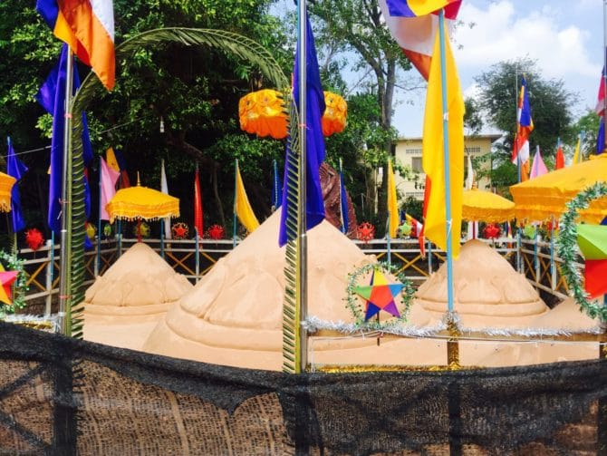 Sand Mountain at Wat Bo Pagoda for Khmer New Year in Siem Reap, Cambodia