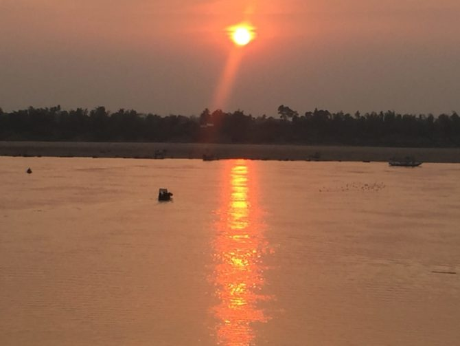 Sunset over the Mekong River in Kratie, Cambodia