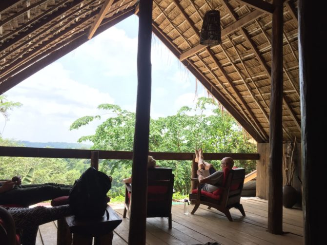 Lounge with forest view at Elephant Valley Project in Mondulkiri, Cambodia