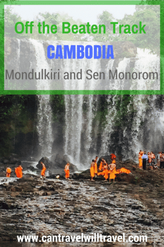 Mondulkiri and Sen Monorom - Off the Beaten Track Cambodia, orange-robed monks bathing at Bou Sra Waterfall