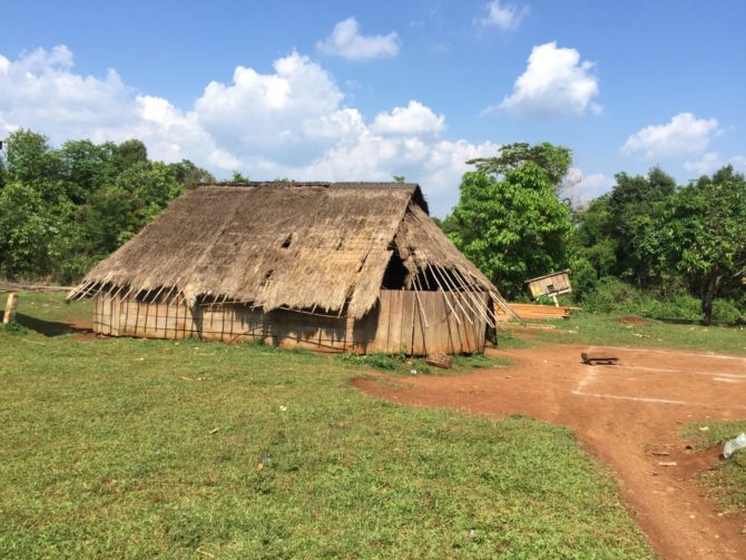 Pou Lung Village in Mondulkiri, Cambodia. Wooden and straw thatched house