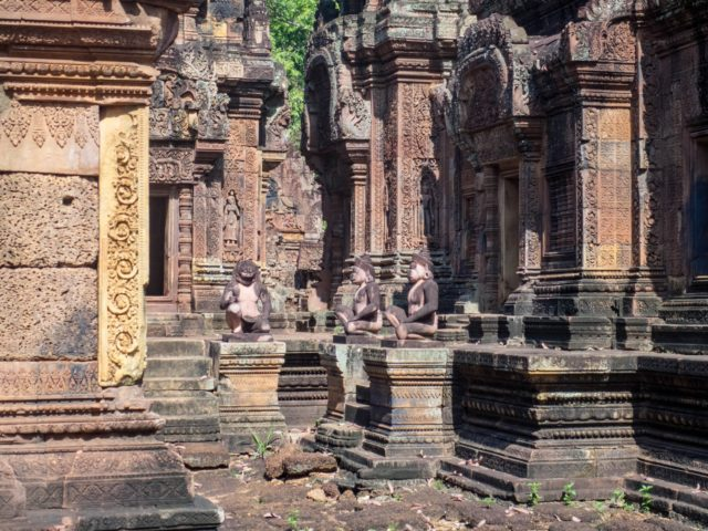 Banteay Srei Temple - Red Stone Detail in Angkor Archaeological Park in Siem Reap, Cambodia