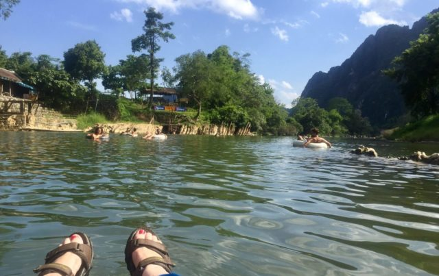 Limestone Karsts on the Nam Song River in Vang Vieng, Laos