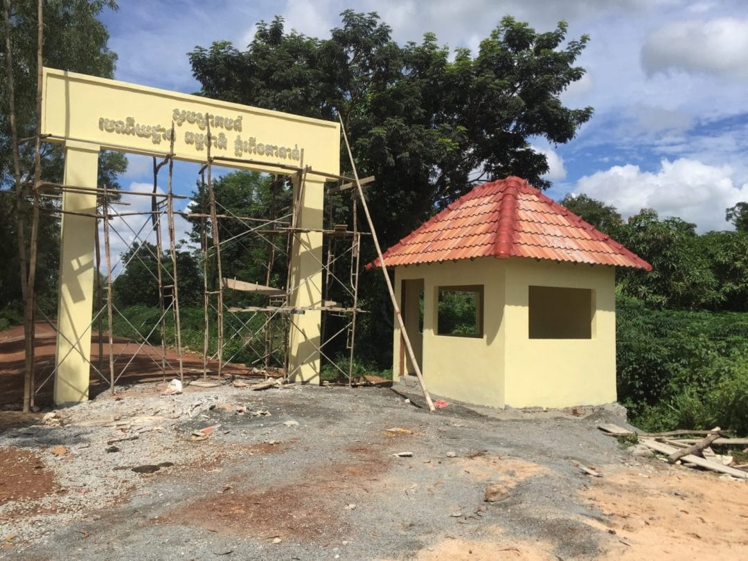 Half built ticket booth at Peung Tanon Standing Stones in Cambodia