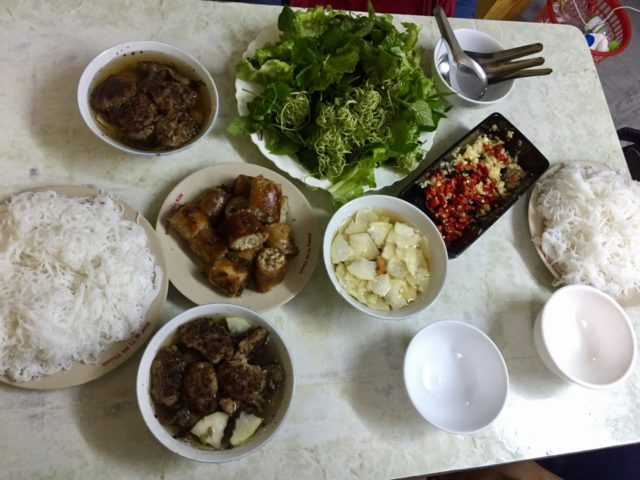 Bun Cha at Bun Cha Nem Cua Be Dac Kim in Hanoi, Vietnam