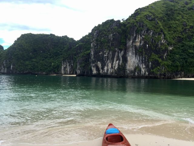 Exploring Beaches by Kayak in Ha Long Bay, Vietnam