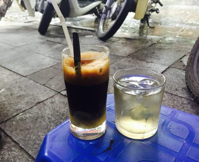 Vietnamese coffee with milk at Cafe Hanh in Hanoi