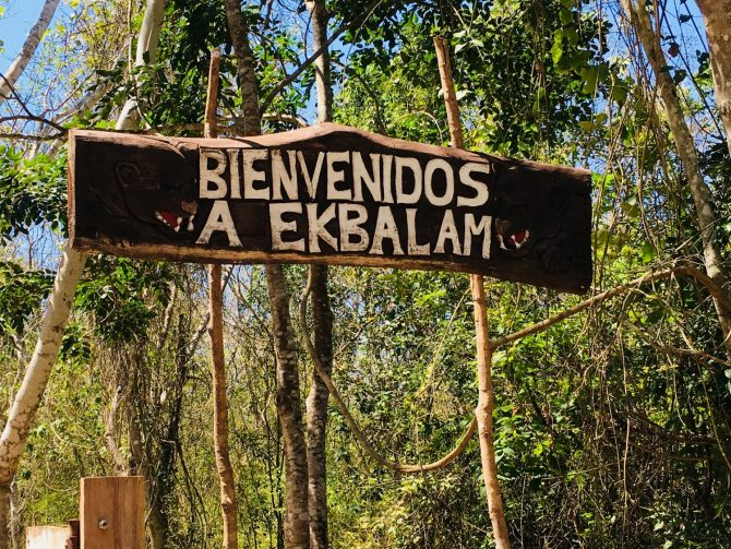 Ek Balam Sign near Valladolid in Mexico