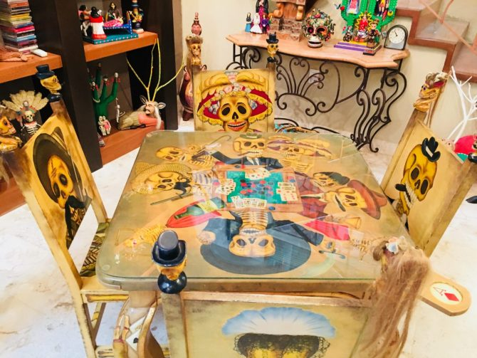Mexican Folk Art Card Table in Casa de Los Venados in Valladolid