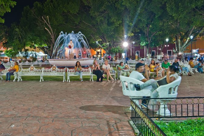 Plaza Principal by Night in Valladolid, Mexico
