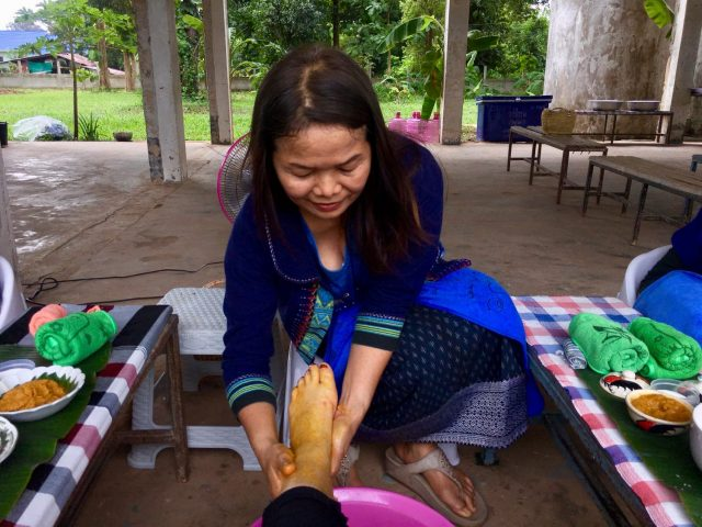 Foot Massage in a Tribal Village near Nakhon Phanom