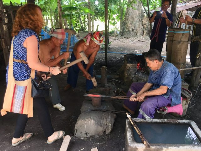 Forging a Machete at a Blacksmiths in a Tribal Village near Nakhon Phanom