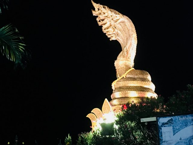 Naga Monument at Night in Nakhon Phanom