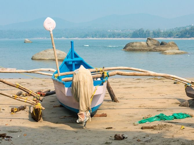 Fishing boat on the Agonda Beach in Goa