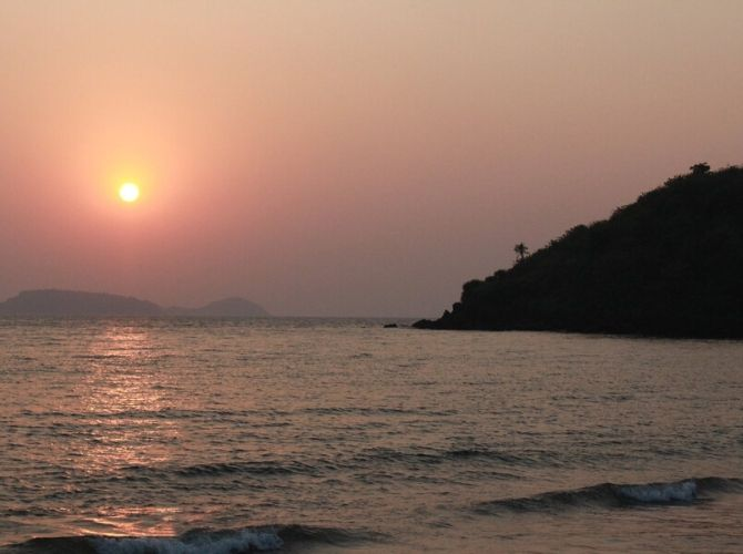 Sunset at Bogmalo Beach in South Goa