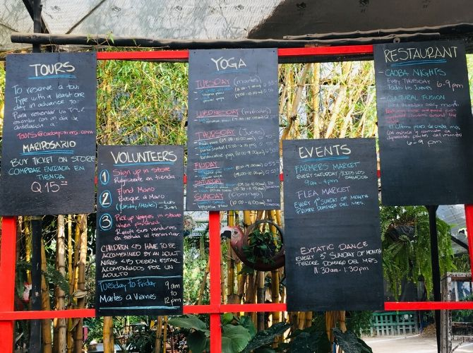 Caoba Farm Events Boards