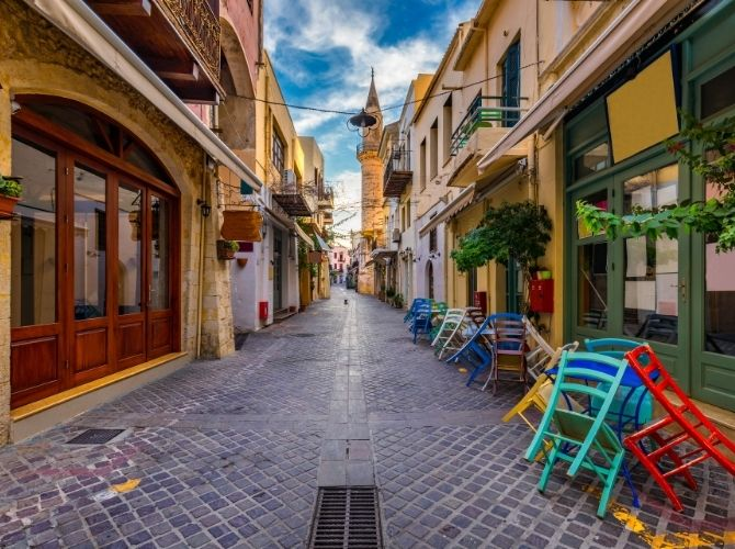 Colourful street in Chania Old Town