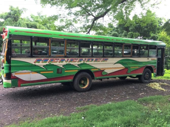 Chicken Bus at Lake Coatepeque