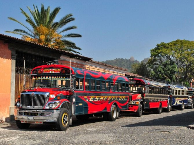 Chicken Buses in Antigua Guatemala