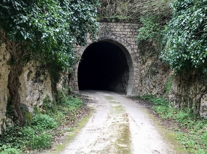 Disused railway tunnel in Anapo Valley in Sicily.