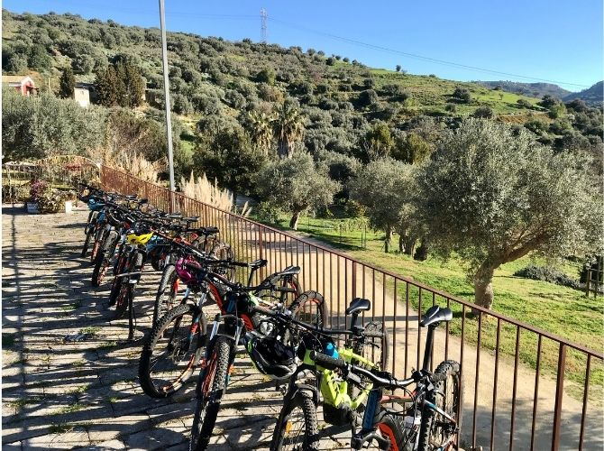 Electric bikes lined up along the fence at Agroturismo Giannavi in Sicily,