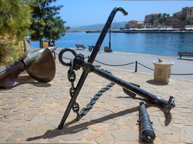 Anchor outside Maritime Museum of Crete