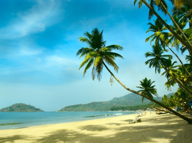 Palm trees and sand on Palolem Beach in South Goa, India