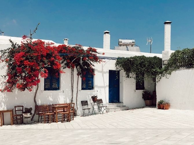 Whitewashed house in Paros, Aegean Islands in Greece