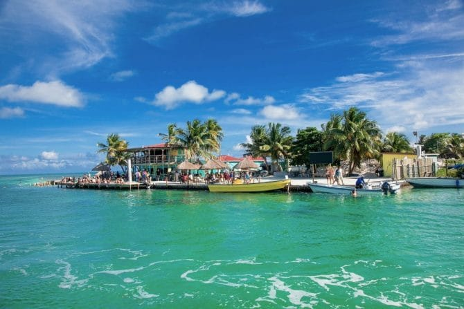 The Split on Caye Caulker view from the sea