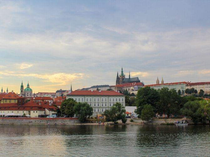 View of Prague Castle from River Vltava
