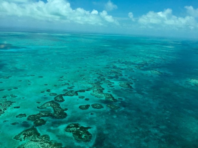 View from Tropic Air Plane of coral reef.