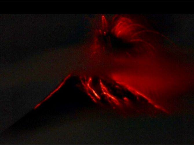 Volcan Fuego erupting at night in Guatemala
